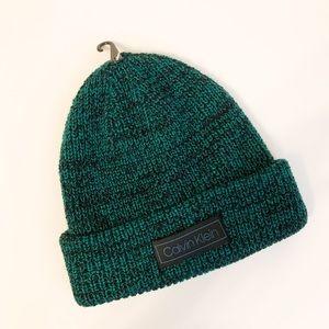 Calvin Klein knit winter hat beanie green black